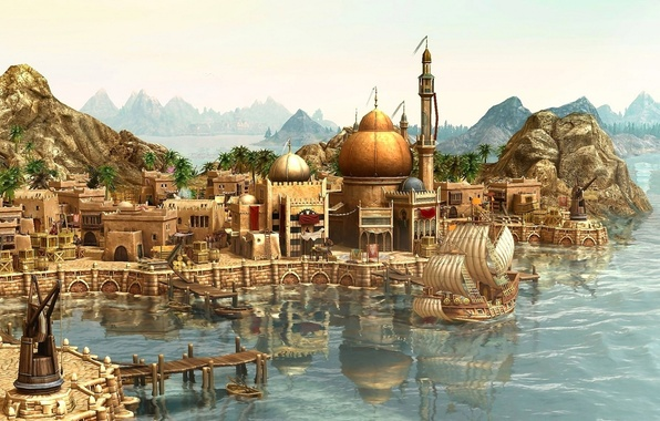Picture city, the city, ship, port, journey, Anno 1404, arrival, game wallpapers, ship, rendering, arrival