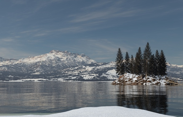 Picture snow, trees, mountains, lake, reflection, island, spruce, ruffle, art, island