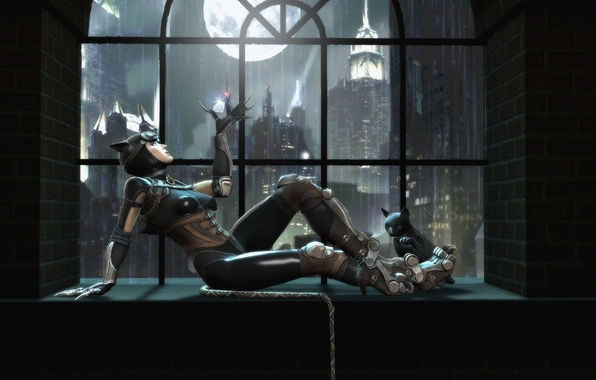 Picture cat, window, Catwoman, Catwoman, Gods Among Us, Injustice