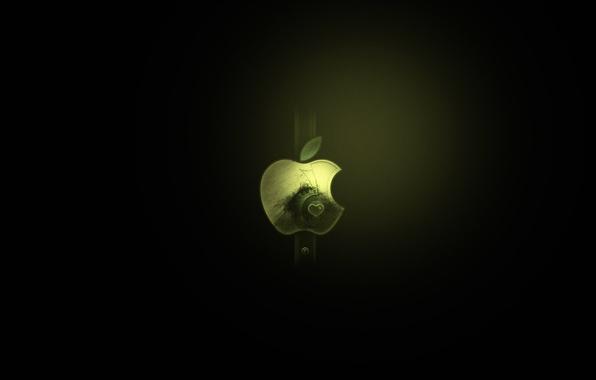 Picture green, background, black, apple, minimalism, logo, mac