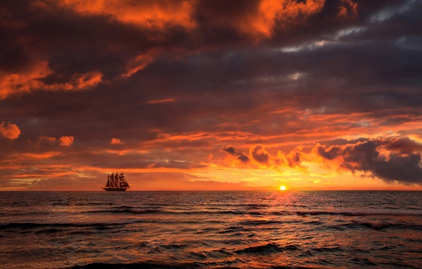 Picture sea, sunset, ship