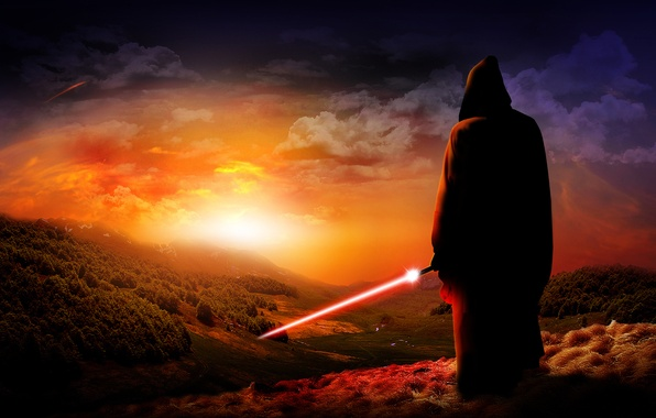 Picture sunset, sword, Jedi