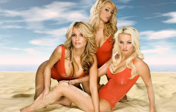 Picture sand, swimsuit, blonde, rescuers
