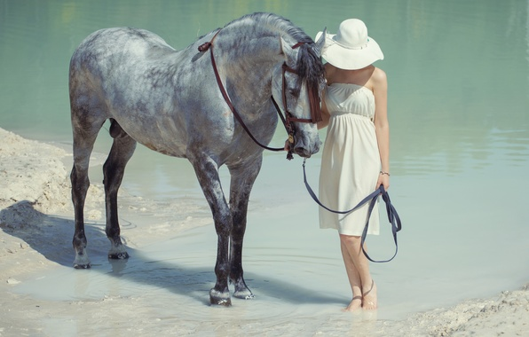 Picture water, girl, horse, hat
