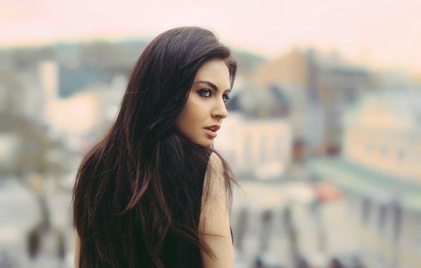 Picture hair, profile, bokeh, Blurry love