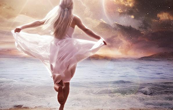 Picture sand, sea, wave, beach, the sky, girl, stars, fiction, hair, back, hands, art, blonde, runs, …