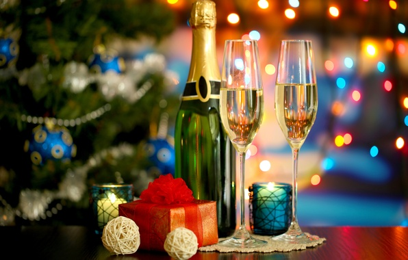 Picture lights, tree, New Year, glasses, Christmas, gifts, tree, champagne, Christmas, holidays, bokeh, New Year