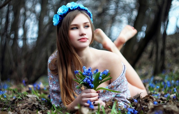 Picture flowers, face, woman, beauty, bokeh