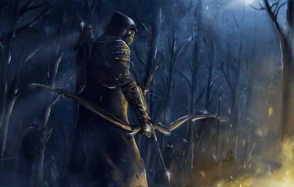 Picture forest, night, weapons, people, fire, bow, art, mask, Archer, The Elder Scrolls Online