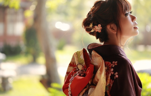Picture summer, look, girl, face, style, background, clothing, kimono, Asian