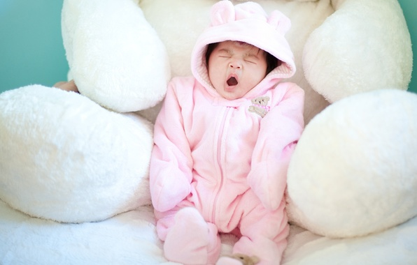 Picture children, background, pink, Wallpaper, mood, child, bear, form, yawns, baby, soft, toy. white. plush