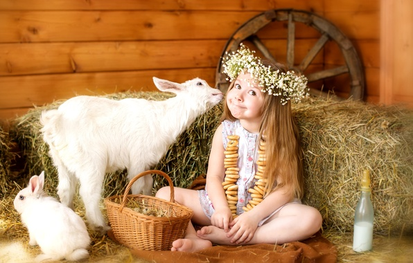Picture animals, happiness, childhood, basket, eggs, wheel, rabbit, milk, hay, girl, kids, wreath, drying, facial expressions, …