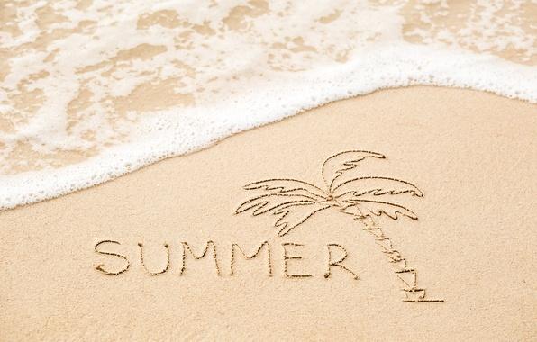 Picture sand, sea, beach, summer, the inscription, summer, beach, sea, sand, vacation