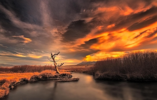 Picture landscape, sunset, mountains, nature, river
