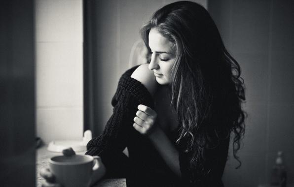Picture girl, mood, mug, black and white, shoulder