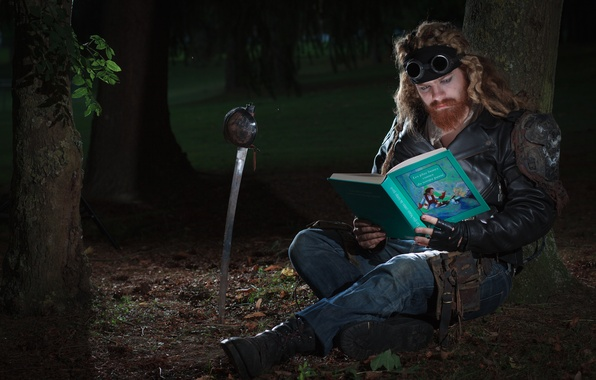 Picture forest, man, glasses, book, saber, tales