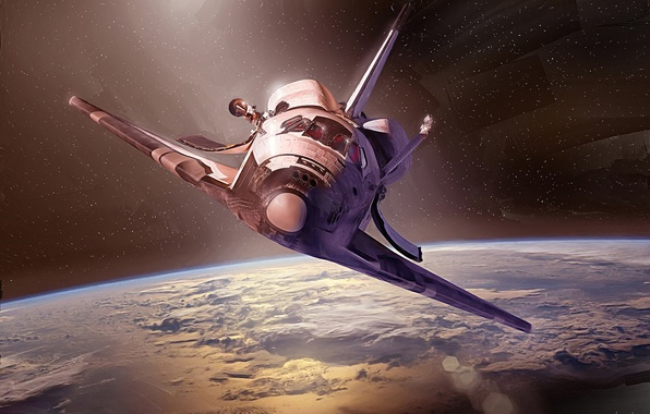 Picture space, earth, ship, Shuttle, Discovery, space, NASA, transport, reusable