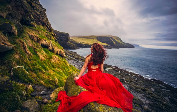 Picture girl, sunset, mood, the ocean, coast, Denmark, dress, red dress, The Atlantic ocean, Faroe Islands, …