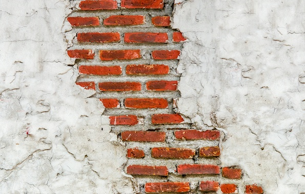Picture cracked, wall, brick, texture, masonry, plaster