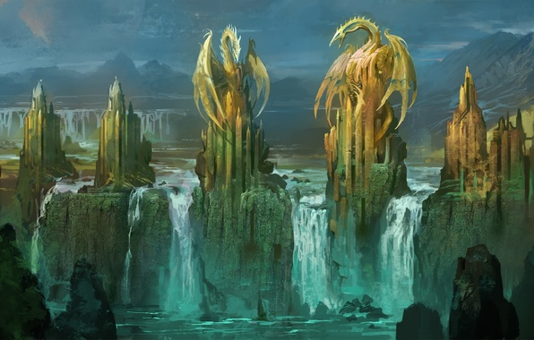 Picture castle, rocks, waterfall, dragons, art, tower, statues