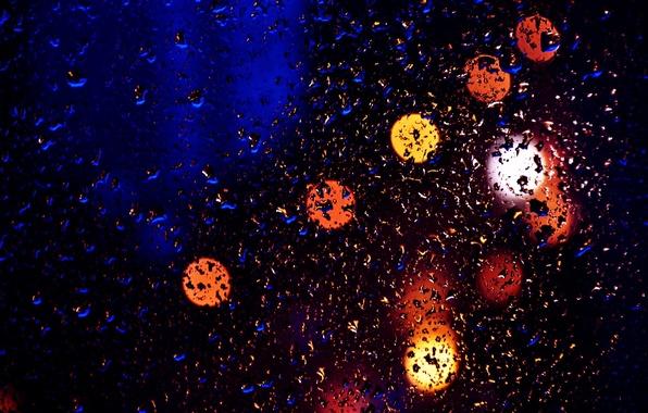 Picture Drops, Glass, Night, Light, Lantern, Glare