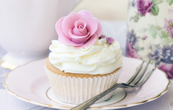 Picture sweets, dessert, sweet, white, flower, rosette, cream, cake, food, cupcake, dishes