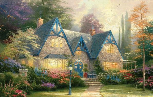 Picture flowers, house, garden, lantern, painting, cottage, estate, Thomas Kinkade, painting, Thomas Kinkade, Winsor Manor, estate