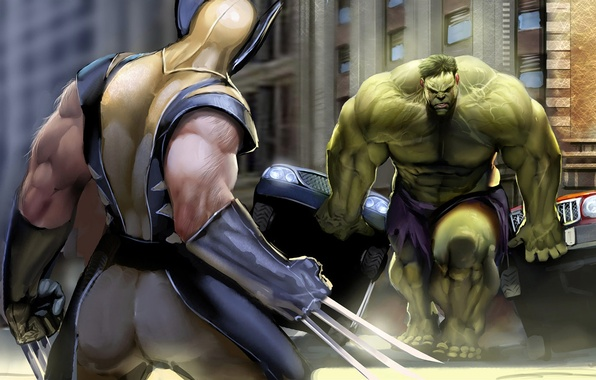 Picture power, the opposition, claws, battle, wolverine, Hulk, comic, super heroes, hulk, superheroes, marvel comics Wolverine