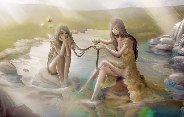 Picture water, rays, butterfly, nature, girls, art, painting, sisters, long hair, scissors