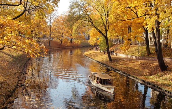Picture autumn, trees, nature, Park, river, boat, falling leaves, river, trees, nature, Park, autumn, alley, boat, …