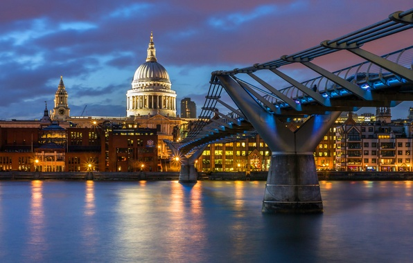 Picture the sky, water, clouds, the city, lights, reflection, river, England, London, building, home, the evening, …