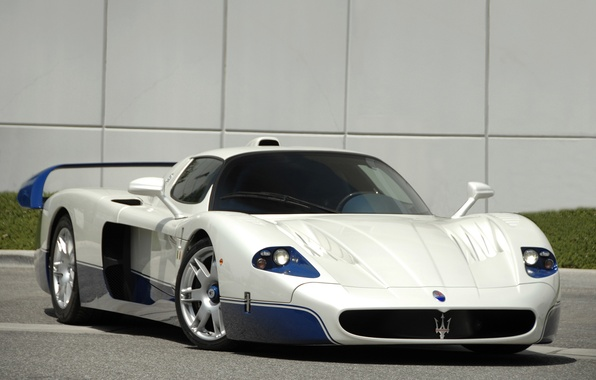 Picture white, blue, Maserati, supercar, white, supercar, blue, Maserati, mc12