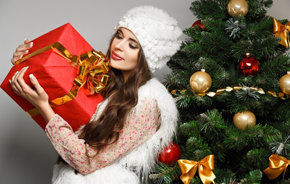 Picture girl, balls, box, gift, hat, toys, tree, spruce, New Year, brunette, Christmas, white, bow, Christmas, …