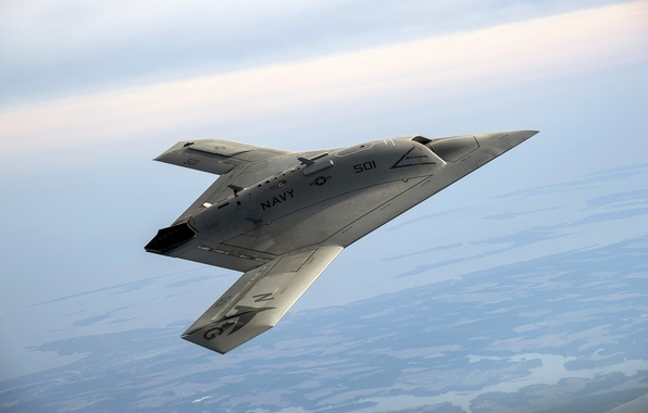 Picture the sky, aviation, landscape, panorama, flight, combat, aircraft, unmanned, drone, drone, intelligence, Northrop Grumman, X-47B ...