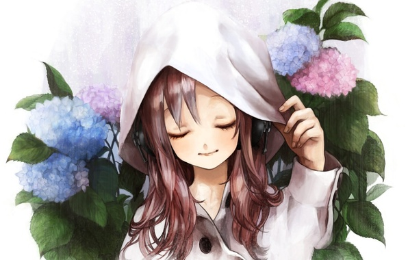 Picture flowers, figure, headphones, hood, girl, cloak, hydrangea