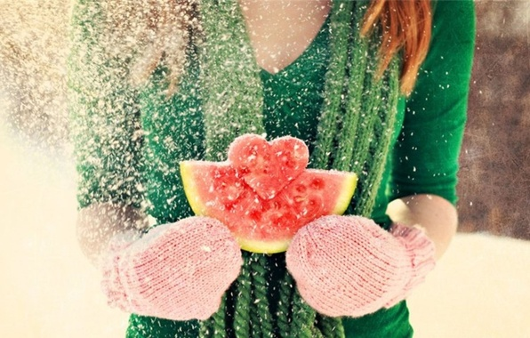 Picture winter, girl, snow, love, heart, watermelon, red, love, brown hair, Valentine's day, mittens, feeling, Valentine's ...