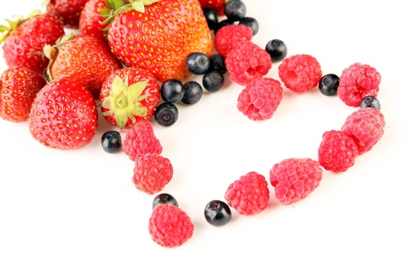 Picture berries, raspberry, heart, blueberries, strawberry