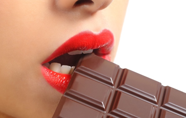 Picture chocolate, lips, teeth