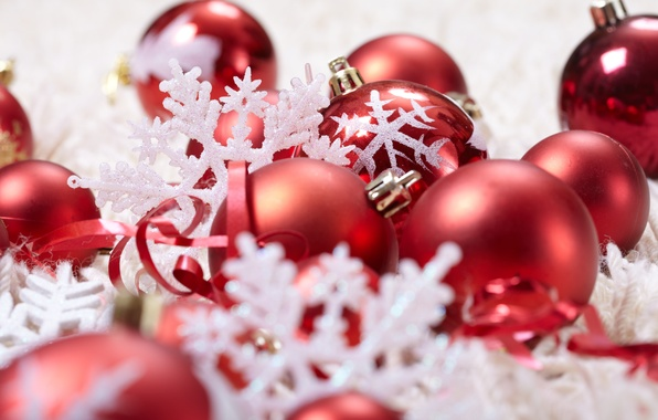 Picture balls, decoration, snowflakes, holiday, balls, toys, New Year, Christmas, red, Christmas, ribbons, New Year