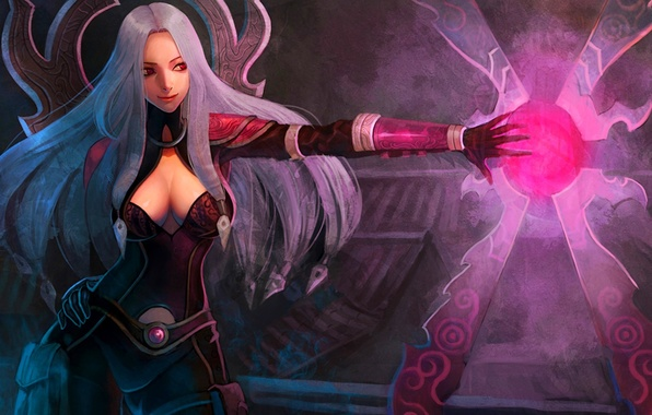 Picture girl, magic, hand, art, red eyes, League of Legends, Irelia