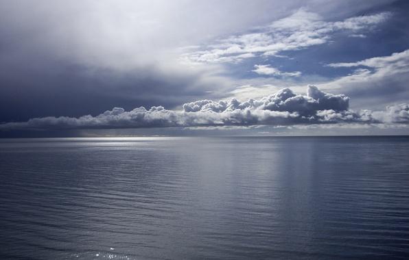 Picture sea, water, clouds, horizon, calm