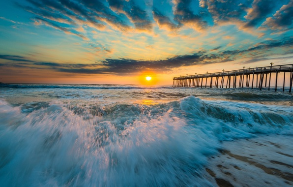 Picture sunset, bridge, the ocean, wave