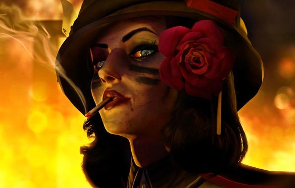 Picture girl, fire, war, cigarette, helmet, Elizabeth, BioShock Infinite