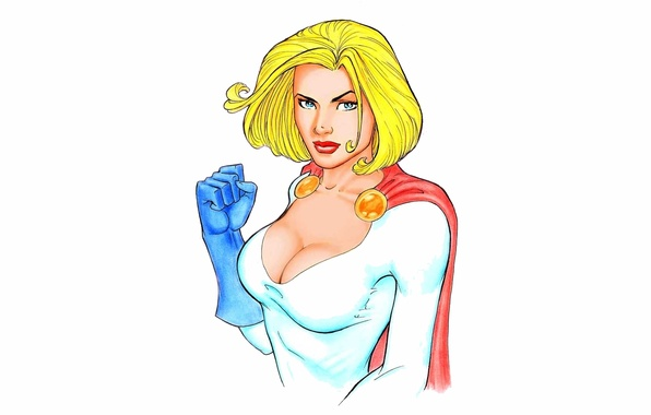 Picture chest, look, costume, cloak, DC Comics, Power Girl