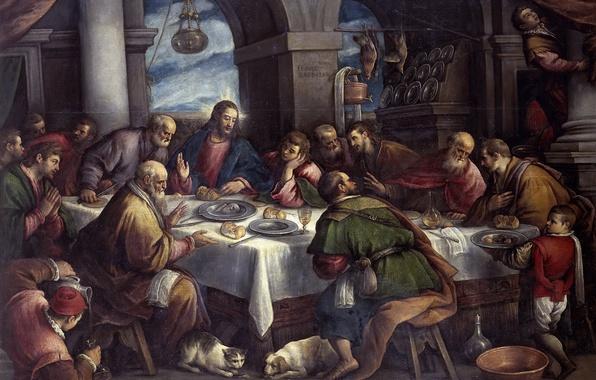 Picture picture, religion, the Bible, genre, mythology, Francesco Bassano, The Last Supper