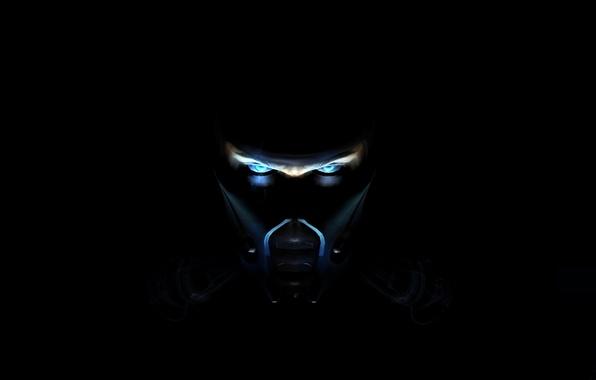 Picture blue, fighter, ninja, Mortal Kombat, Sub-Zero, in the darkness