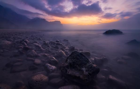 Picture fog, lake, stones, dawn, shore, morning
