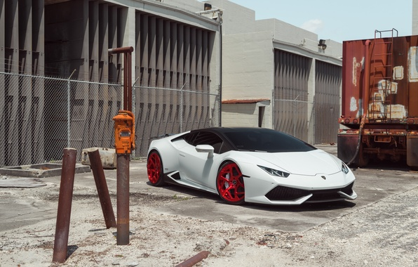 Picture Lamborghini, Front, White, Supercar, Huracan, LP610-4, Vellano MC