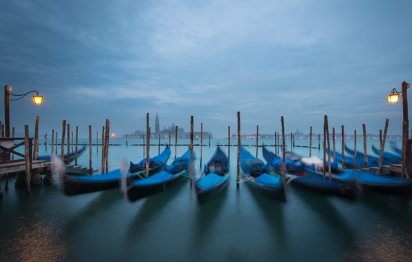 Picture the sky, clouds, the city, boats, the evening, lights, Italy, Venice, channel, Italy, gondola, Venice, …