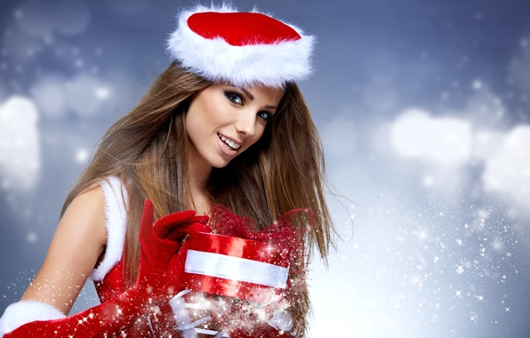 Picture girl, snowflakes, smile, box, gift, New Year, Christmas, gloves, maiden, brown hair, red background, holidays